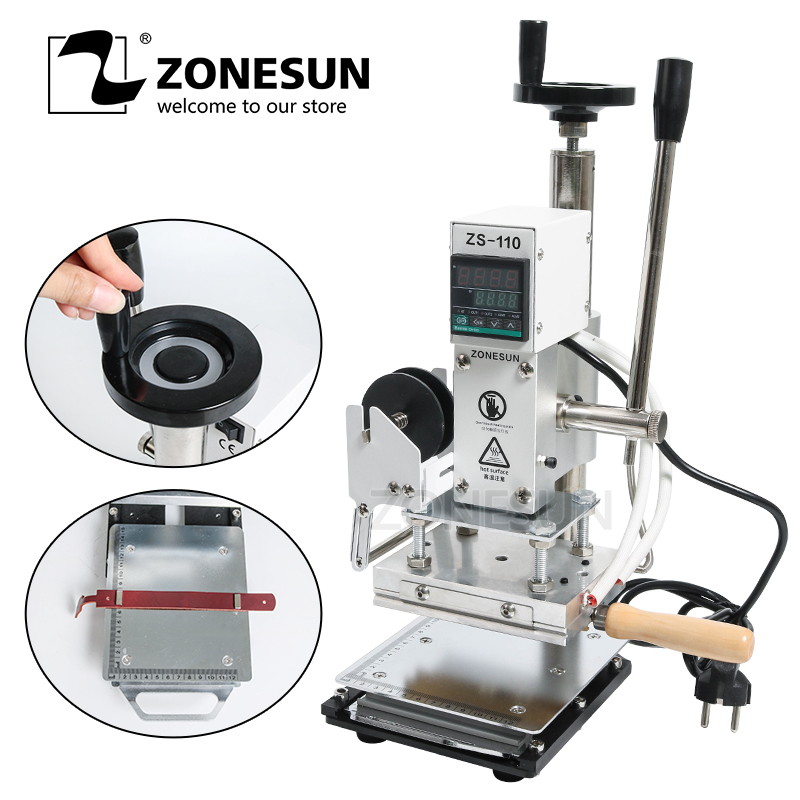 ZONESUN ZS110 slideable workbench Digital hot foil stamping machine leather embossing bronzing tool for wood wood PVC paper DIY zonesun hot foil stamping brass mold wood leather paper customized embossing mold diy design bread die iron heating emboss mould