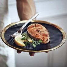 European Style Gold Side Black Plate Retro Tableware Matte Steak Dish Dessert Tray Kitchen Dinner Plates Ceramic Dishes Plates