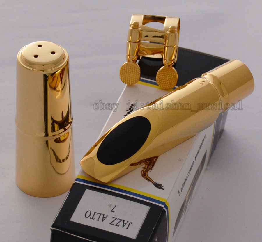 Embout en métal plaqué or Jazz Alto de qualité supérieure pour Saxophone Eb Sax taille 7