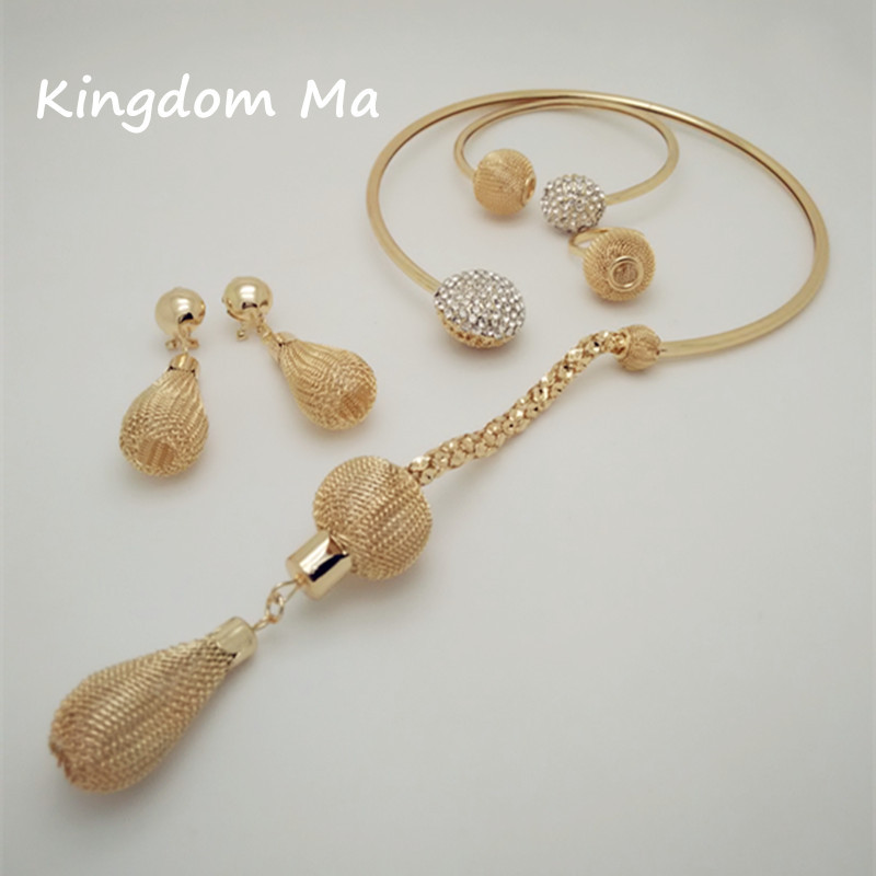 KINGDOM MA Nigerian Wedding African Beads Jewelry Set Women Gold Color African Costume Long Jewelry Set
