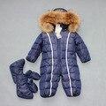 Новая мода Зимы Младенца вниз комбинезон толстые теплые зимы младенца вниз одежды меховой воротник vetement enfant Roupas Де Bebe J0157