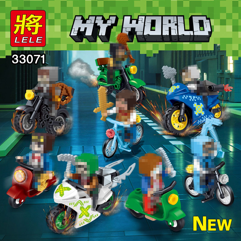 My World 8 In 1 Motorcycle knight Compatible legoINGLY Minecrafter Mini Action Figures Building Blocks Bricks Toys For Children classic my world minecraft the nether fortress building blocks bricks enlighten toys for children kids lele bela 21122 legoingly