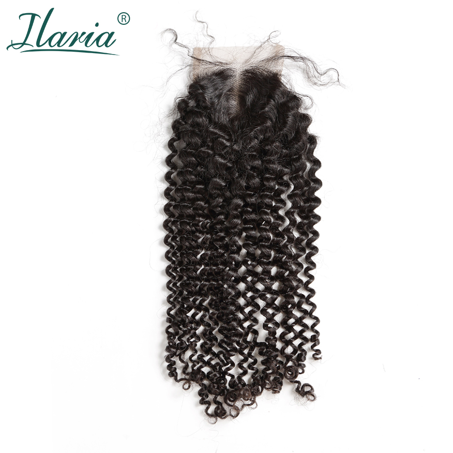 ILARIA HAIR Brazilian Kinky Curly Lace Closure With Baby Hair 4x4 100 Curly Human Hair Top
