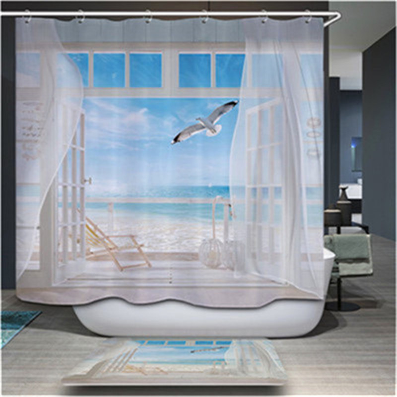 Hot sales high quality home bathroom decoration shower curtain all kinds of design shower curtain 12 hooks 180*180