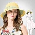 2016 Dama de La Moda de Ala Ancha de Paja Sombrero de Sol Mujeres Ladies Beach Summer Panamá Sun Cap Plegable Femenino Sombrero Fuera B-3175