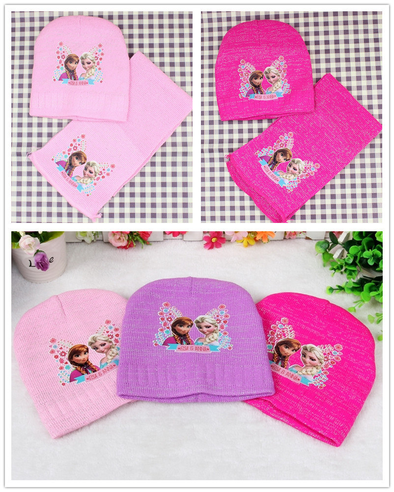 Pcs 2016 children s cartoon anna elsa princess woolen yarn knitted