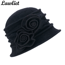 Lawliet Women Winter Cap Flower Trim Pure Wool Hats Warmer Ladies Beanie Bucket Cloche Fedoras Church Hat Casual Skullies Bonnet