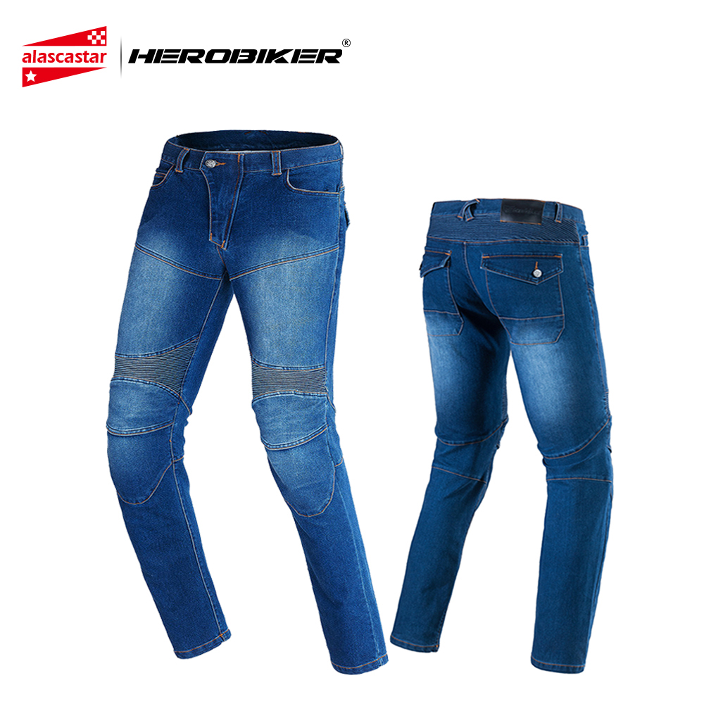 HEROBIKER Men Motorcycle Pants Moto Riding Jeans With 4 Protectors Knee Pads Motocross Racing Pants Winter Warm Windproof tkosm motorcycle pants riding road motor windproof pants jeans men trousers racing windproof motorbike pants with knee pads
