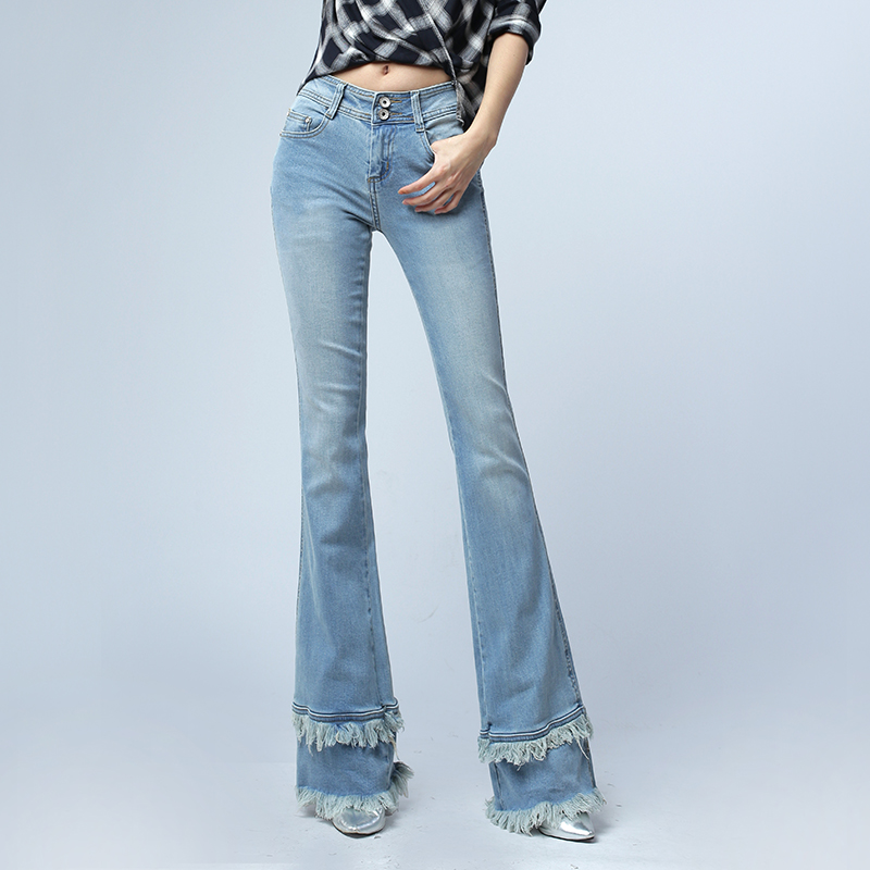 ФОТО Spring Autumn Women's Vintage Double Flash Tassel Jeans Slim Flare Pants Trousers Denim Boot Cut Jeans Female Long Trousers