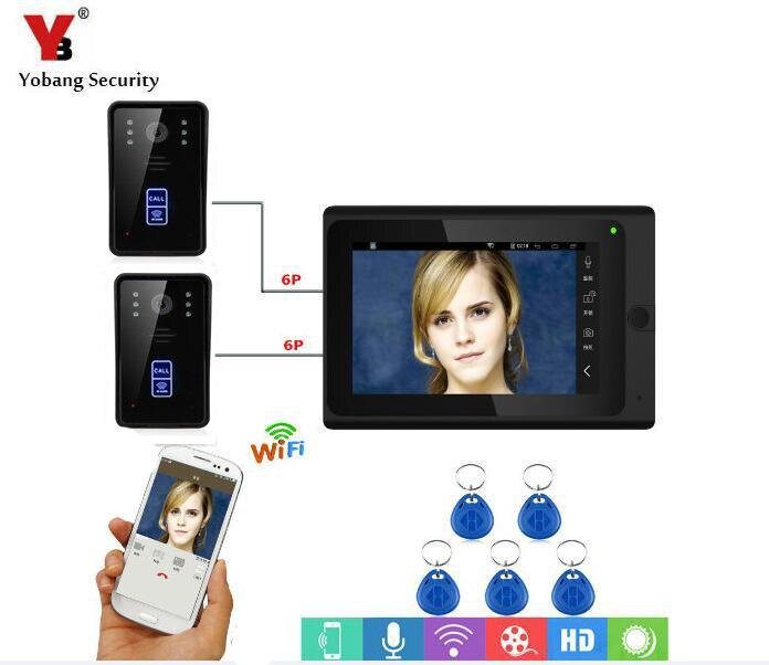 Yobang Security RFID Access Camera 7 Inch LCD Wifi Wireless Video Door Phone Doorbell Intercom 2 Camera 1 Monitor APP Control