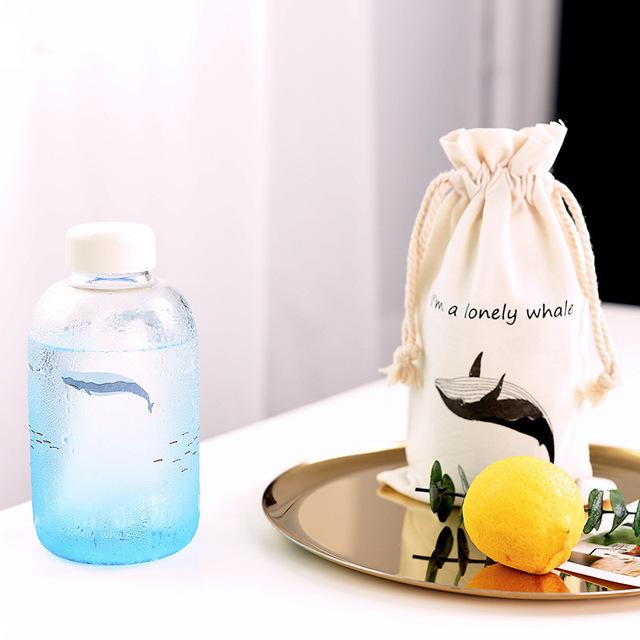Lonely Whale Print Glass Water Bottle 2
