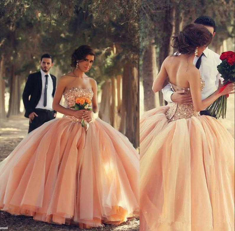 d8406211de1 Cinderella Ball Gown Prom Dresses Factory Strapless Floor Length With  Crystal Beaded Peach Plus Size Sweet 16 Custom Made