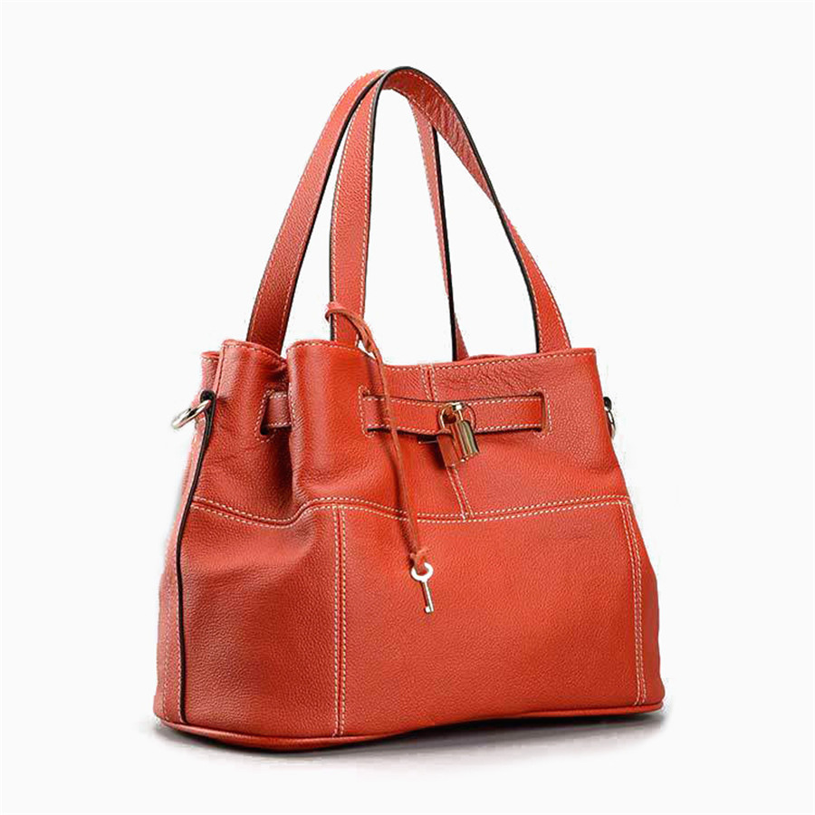 2017 Famous Designer Women Genuine Leather Handbag Litchi Pattern Lock Bucket Shoulder Bags Messenger Casual Totes new genuine leather women bag messenger bags casual shoulder bags famous brand fashion designer handbag bucket women totes 2017