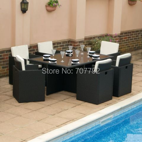 cube 6 seater rattan garden set with cover
