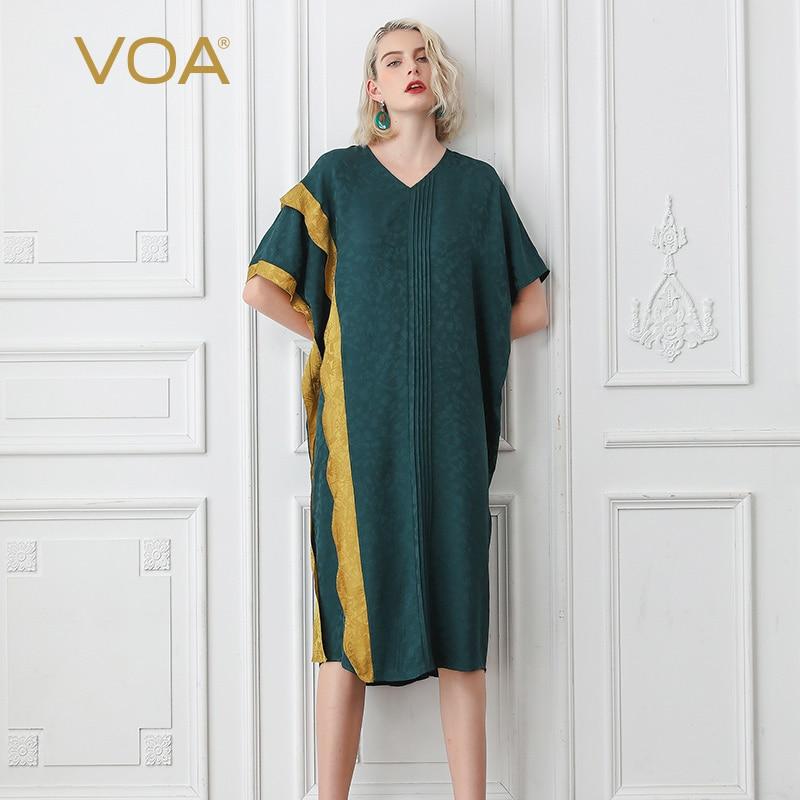 VOA soie musulmane Robe grande taille lâche islamique Robe femmes col en V manches chauve-souris décontracté bandes d'or abaya dubai luxe A10071