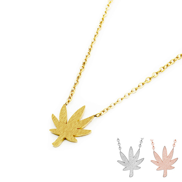 a3e6bc7fd Dainty Stainless Steel Chain Gold Color Canada Maple Leaf Necklace Handmade  Natural Leaves Charm Jewelry Accessories