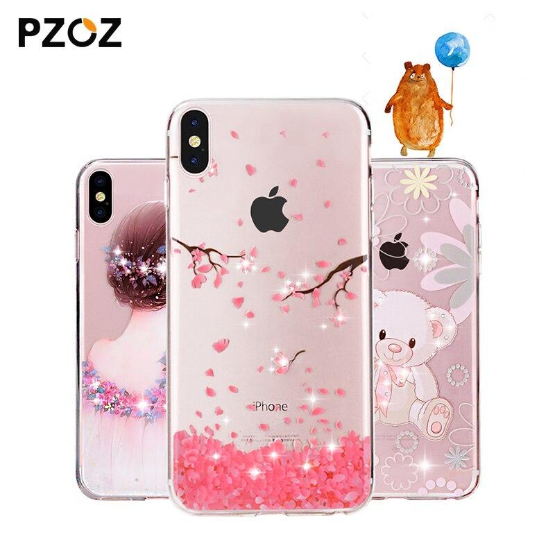 Galleria fotografica PZOZ For apple iphone x 10 Case Rhinestone Glitter Silicone Cover Original coque Luxury Crystal Diamond Soft Shell ultra thin