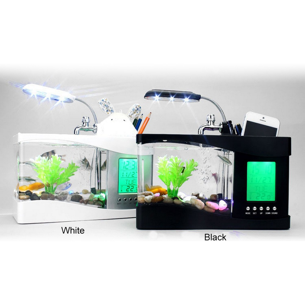 Mini Aquarium avec lampe à LED lumière USB Aquarium Betta poissons réservoirs écran d'affichage à cristaux liquides et horloge porte-stylo