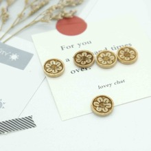 100pcs Flower Pattern Sewing Wooden Buttons For Clothes Knitting Needles Crafts Scrapbooking DIY Fabric Needlework Accessories