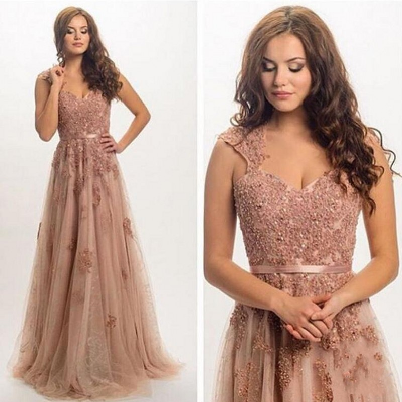 108c9ab20029 2017 Modest Dusty Pink Tulle Pearls Evening Dresses Lace Appliques  Engagement Prom Gowns Abendkleider V neck Formal Party Dress-in Evening  Dresses from ...