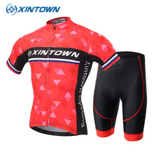 XINTOWN Summer Ropa Ciclismo Hombre Red Sportswear Short Sleeve Cycling Set Jersey Bike Clothing Breathable Bicycle Clothes