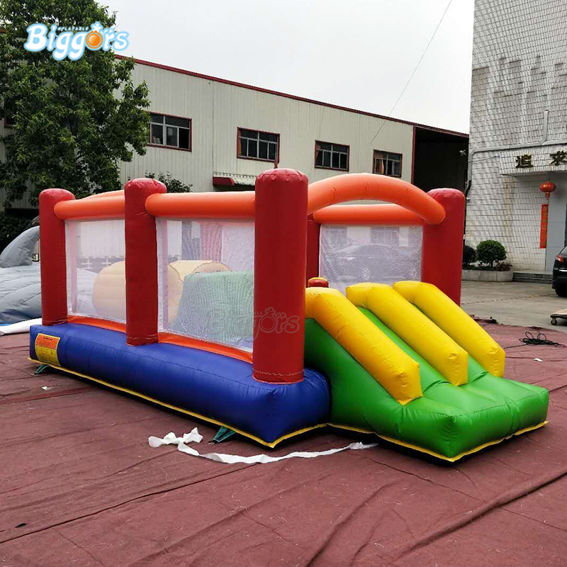 0.55mm PVC Tarpaulin Commercial Grade Inflatable Bouncy Castle Obstacle Course With Dual Slide 0.55mm PVC Tarpaulin Commercial Grade Inflatable Bouncy Castle Obstacle Course With Dual Slide