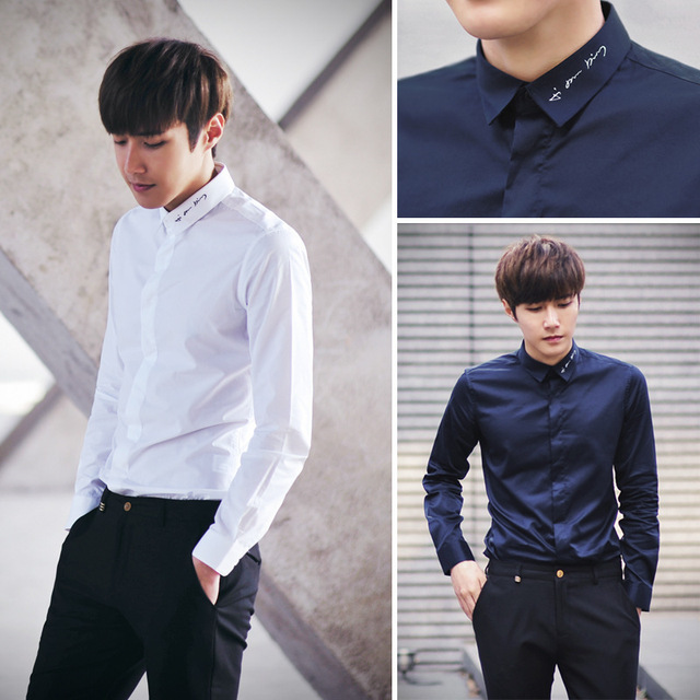 2017 Men 39 S Fashion Long Sleveed Dress Shirts Embroidery