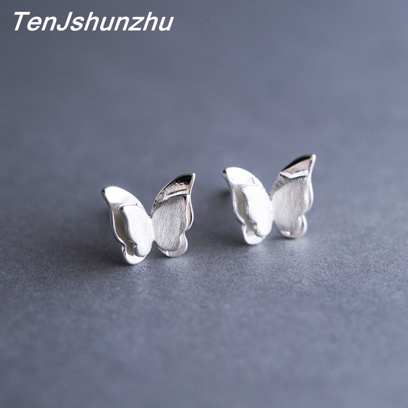 100% 925 Sterling Silver Prevent Allergy Butterfly Stud Earrings For Women Wedding Earrings Jewelry Accessories Brincos