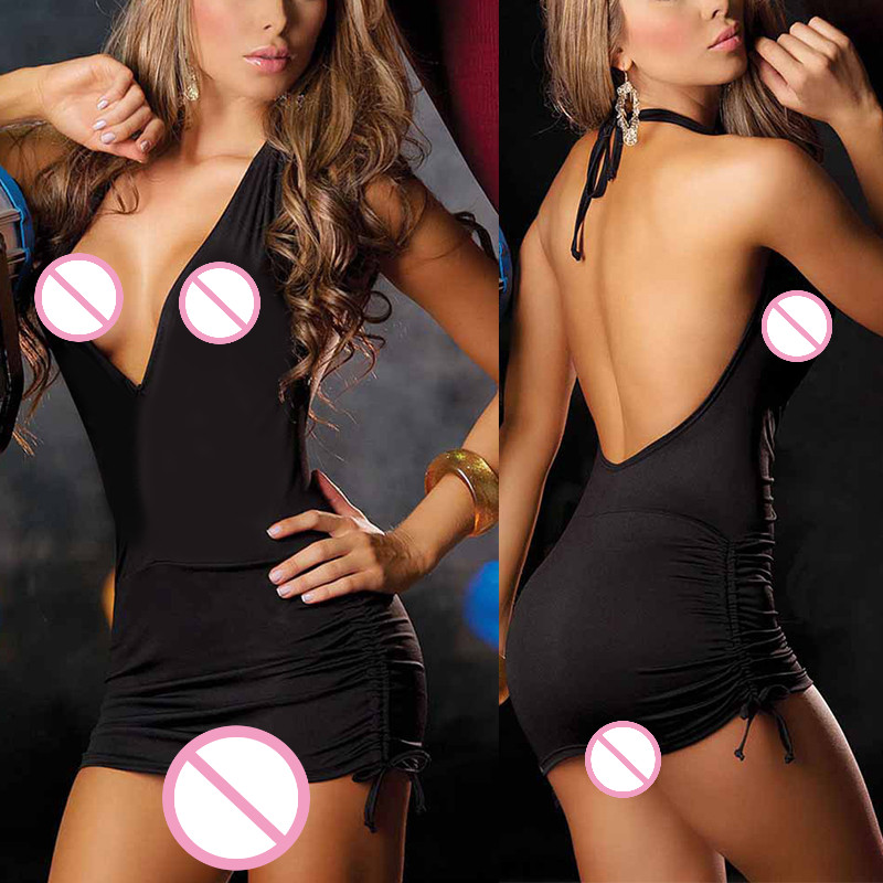 Sexy Lingerie Dress Deep V-Neck Halter Hang Bight Dress Neck Low Cut Backless Clubwear Pole Dancing Tight Lingerie Sleepwear