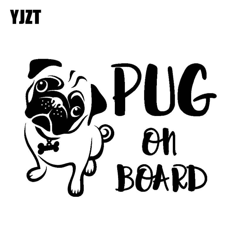 YJZT 16.7CM*12CM PUG ON BOARD Funny Cute Gog Vinyl Sticker Car Decals Black Silver C10-00675