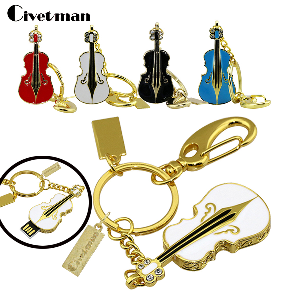 Crystal Diamond Guitar USB Flash Drive Necklace Violin 1GB 2GB 4GB 8GB 16GB 32GB Memory Card