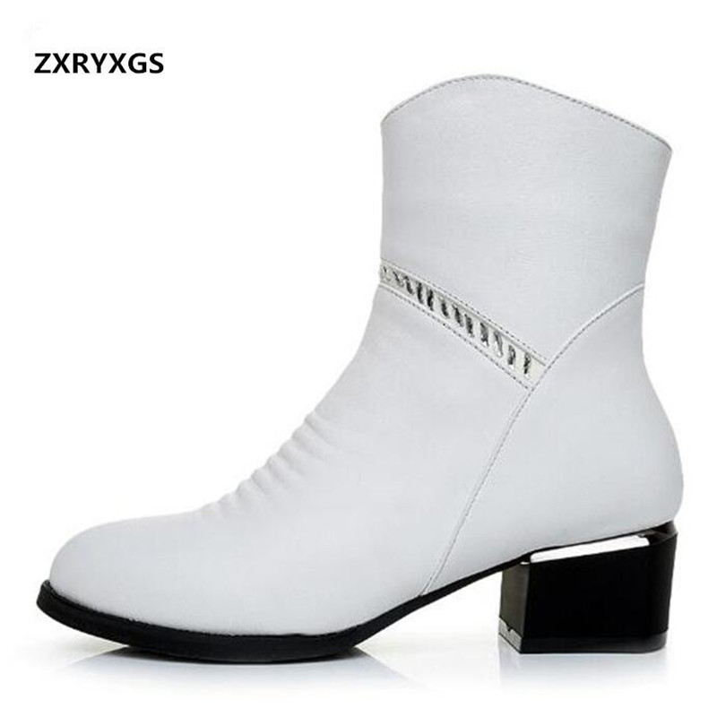 Most Popular 2019 Spring New Rhinestone Genuine Leather Women Boots Comfortable Non slip Ankle Boots Fashion