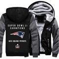 США размер Супер Боул Li Чемпион! Patriots Футболу Мужчины Женщины Сгущает Руно Молнии С Капюшоном Куртки Clothing Casual Пальто