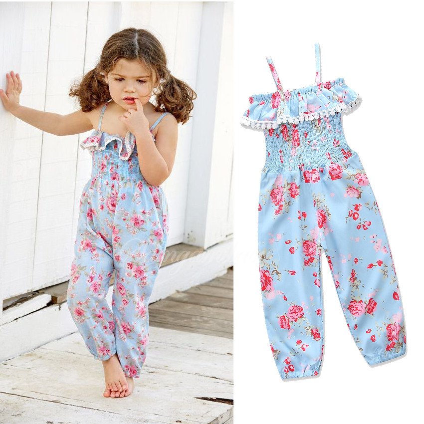 Girls Printed Floral Overalls Babies Lace Flower Suspender Pants Baby Girls Fashion Ruff ...