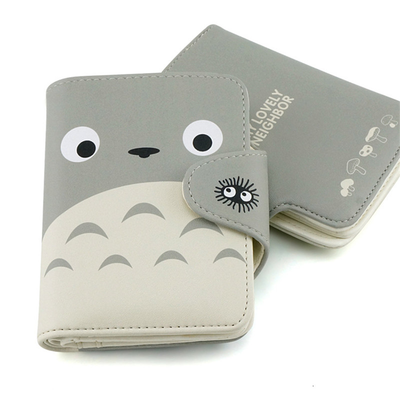 My Neighbor Totoro Wallet Lovely Cat Japanese Anime Pu Leather Short Purse Hasp Ladies Wallet Kawaii Card Holder for Students kawaii cartoon anime totoro purse folded leather short wallets carteira gift kids teenager dollar price card holder wallet