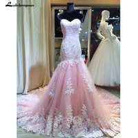 2018 Appliques Lace Pink Mermaid Court Train Evening Formal Dresses Long Vestido Lace up Modest Maxi Gowns