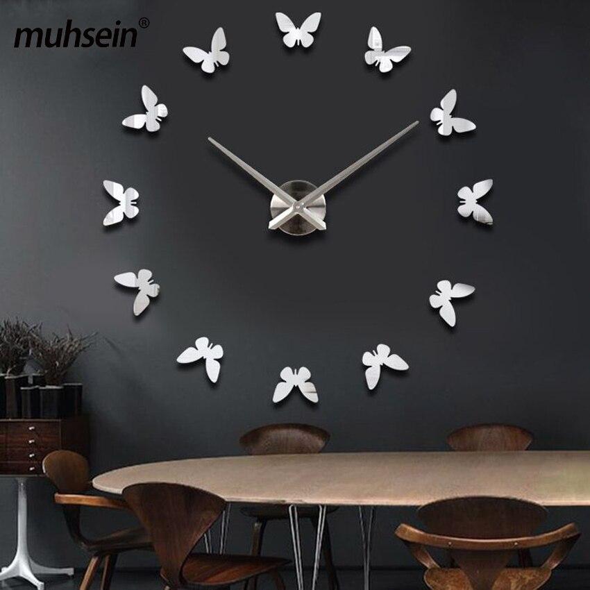Muhsein nouveaux autocollants muraux décor à la maison affiche bricolage Europe acrylique grand autocollant 3d nature morte horloge murale cheval papillon livraison gratuite