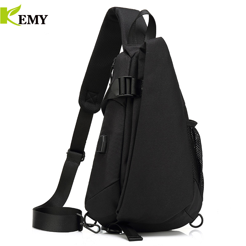 KEMY New Arrival Crossbody Bags Men Chest Pack Short Trip Messengers Bag Waterproof Shoulder Bag USB Sling Bag For Ipad Pocket 1