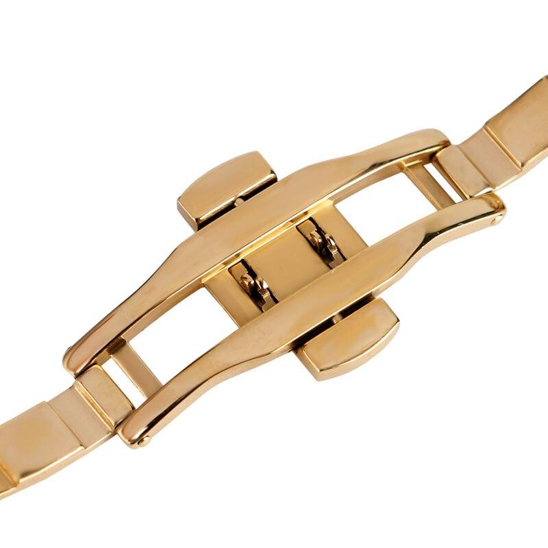Image 4 - 18mm 20mm 22mm מוצק זהב שעון להקות רצועת השעון מתכוונן החלפת אופנה צמיד + 2 אביב בריםרצועות לשעוןשעונים -