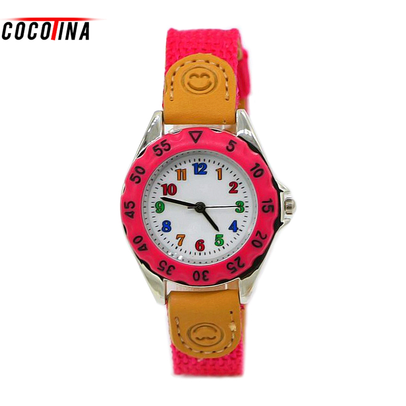 COCOTINA montre enfant fille Boy Girl Watch Gift Children Kids Student Tutor Time Learning Fabric Strap Wristwatch Thin Watches 2017 hello kitty cartoon watches kid girls leather straps wristwatch children hellokitty quartz watch montre enfant