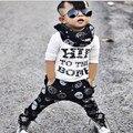 2017 otoño cráneo Infantil letras blancas de La Camiseta + Pants 2 unids ropa de bebé para niños y niñas conjuntos casuales