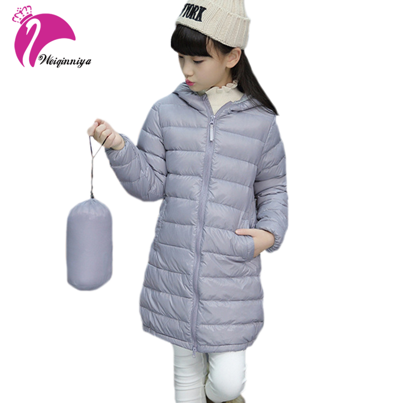 Girls Winter Light White Duck Down Coat Kids Jacket Hooded Long Clothing Children Cotton Clothes Fashion Warm Outerwear Snowsuit