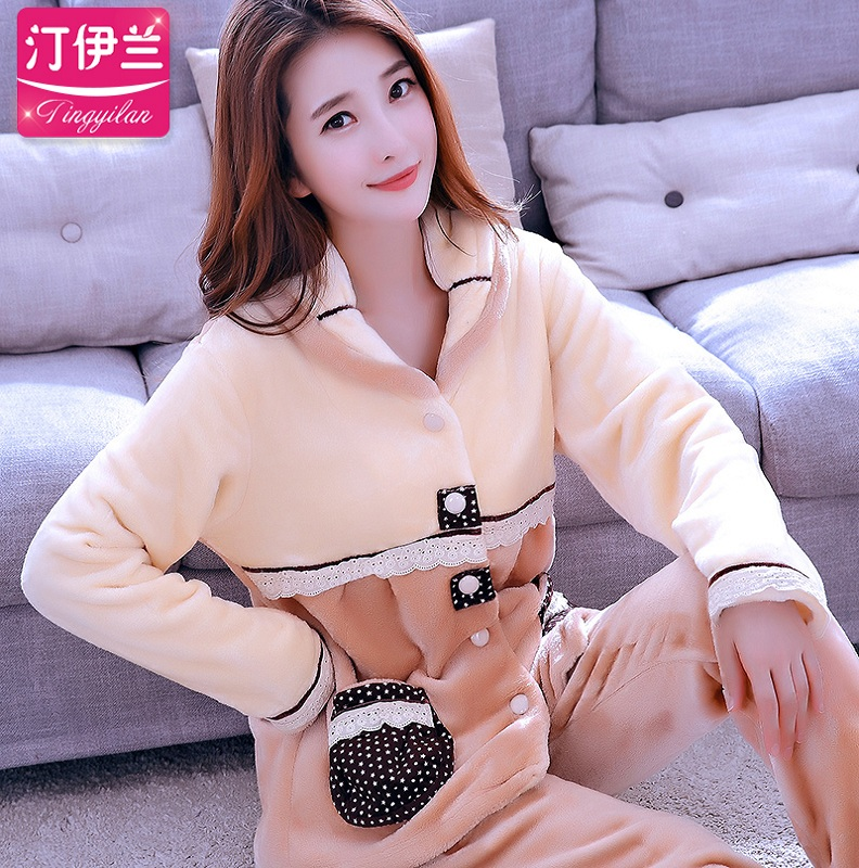 Lady Winter Warm Pyjamas Women Sleepwear Female Pajama Suit Fleece Pajama Sets Home Suits Homewear Women Leisure Wear  D-2108