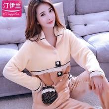 Lady Winter Warm Pyjamas Women Sleepwear Female Pajama Suit Fleece Pajama Sets Home Suits Homewear Women