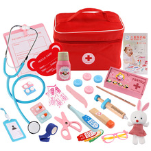 Childrens Doctor Toy Kit Injection Tool Wooden Simulation Real Life Medicine Box Girl Toys Gifts Home Stethoscope