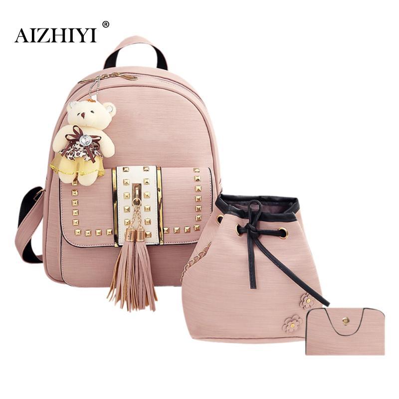 3Pcs/Set Women Backpacks Soft PU Leather Female School Bags For Teenage Girls Black Women Backpack Tassel Bag Shoulder Bag