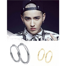 E079 Punk Men Hoop Earrings Fashion Gold Color Hoop Earrings For Women Round Circle Design Ear Accessories Fashion Jewelry Rock(China)