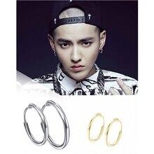 E079 Punk Men Hoop Earrings Fashion Gold Color Hoop Earrings For Women Round Circle Design Ear Accessories Fashion Jewelry Rock