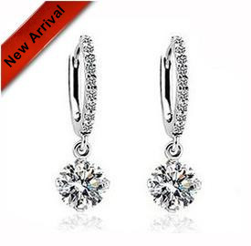 New arrival hot sell shiny cubic zircon 925 sterling silver ladies drop earrings jewelry wholesale drop shipping