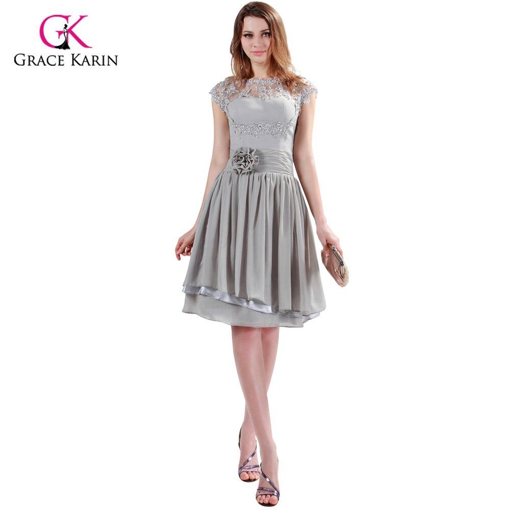 c0c3b11bd Grace karin marca cinza vestidos de noite curtos mulheres o neck oco out  lace flor vestidos de festa formal vestido de festa 6098 em Vestidos De  Noite de ...